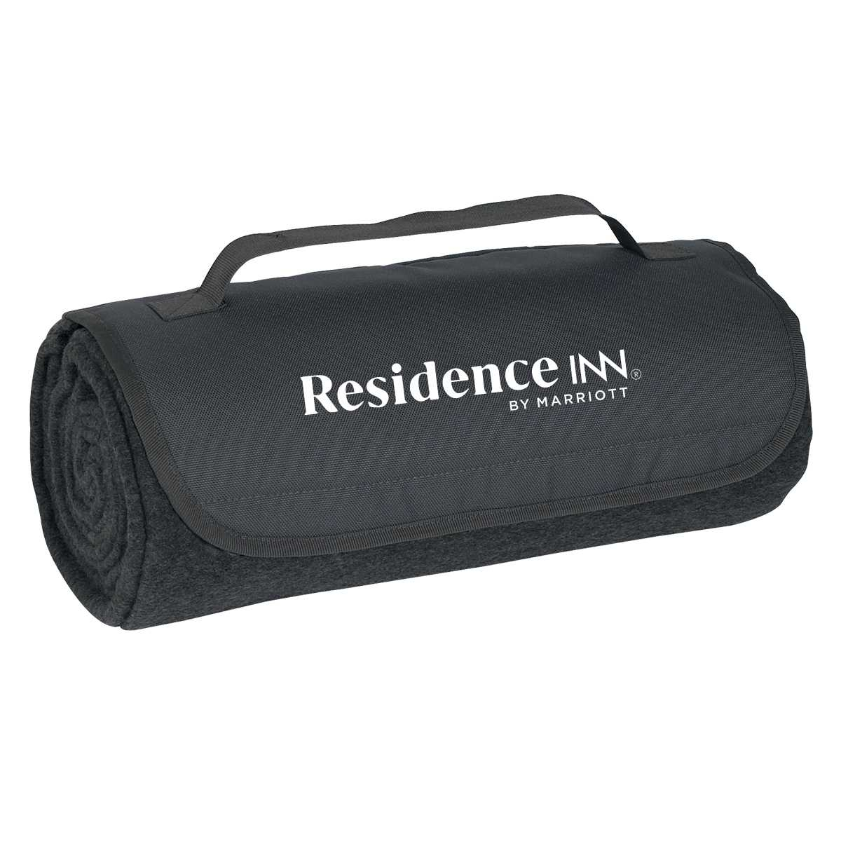 "Roll-Up Blankets. Color: Charcoal. - Large 48"" x 53"" 100% Soft Polyester Fleece - Velcro Closure & Carrying Strap"