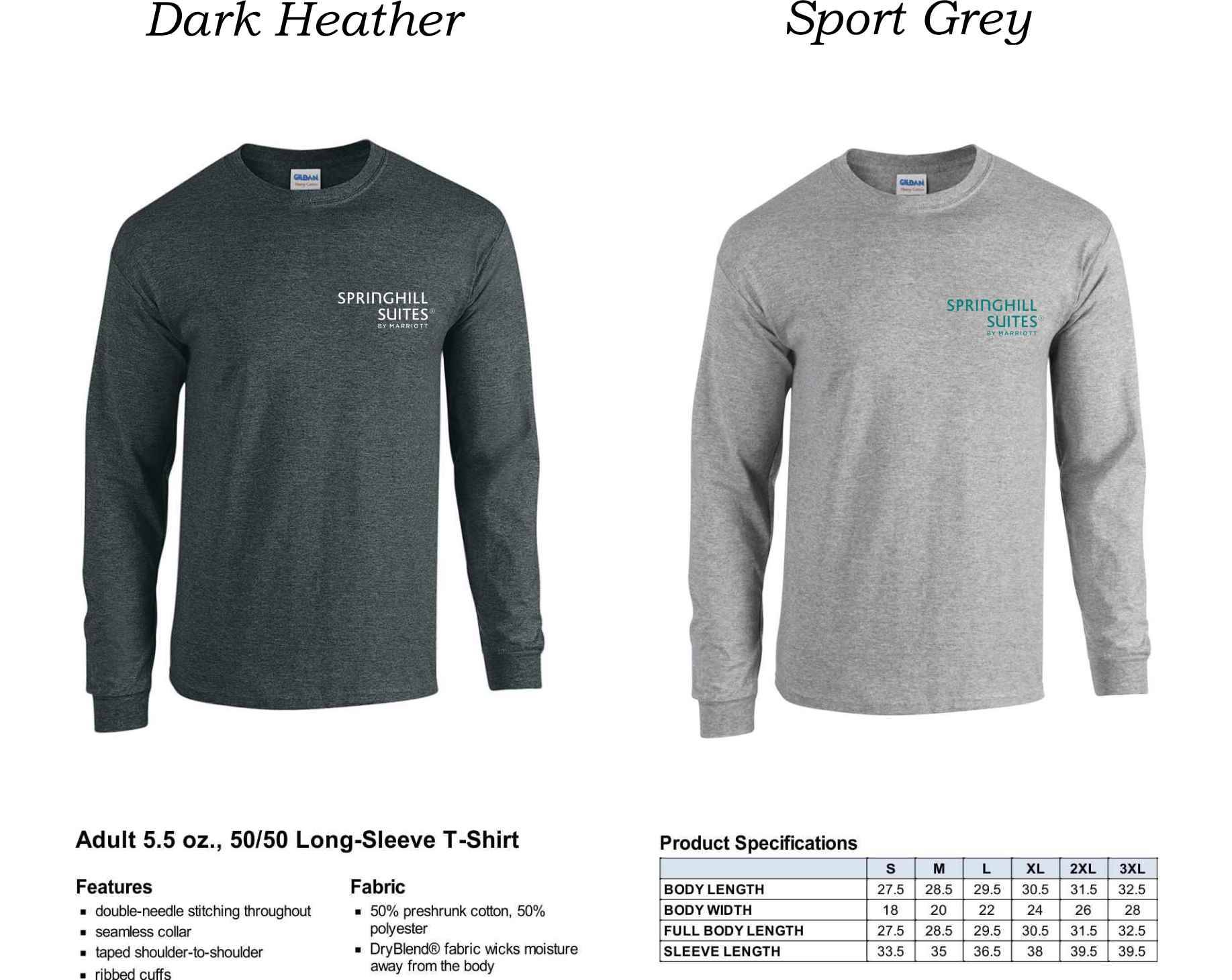 Long Sleeve T-shirts. | Heavyweight 50/50 DryBlend Fabric | Silk-Screen Logo