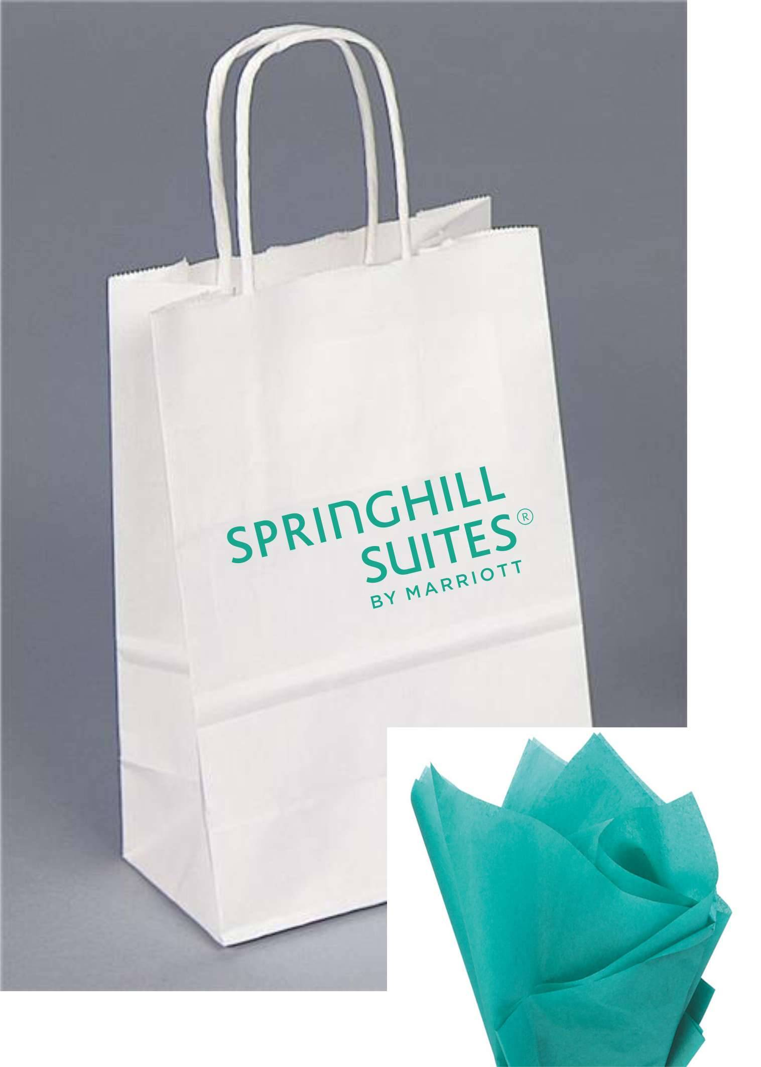 "Gift Bags with Rope Handle - Reflective Teal foil-stamped SpringHill Suites logo -  Includes TEAL tissue paper with every gift bag! - 8.25""H x 5.00""W x 3.50"""