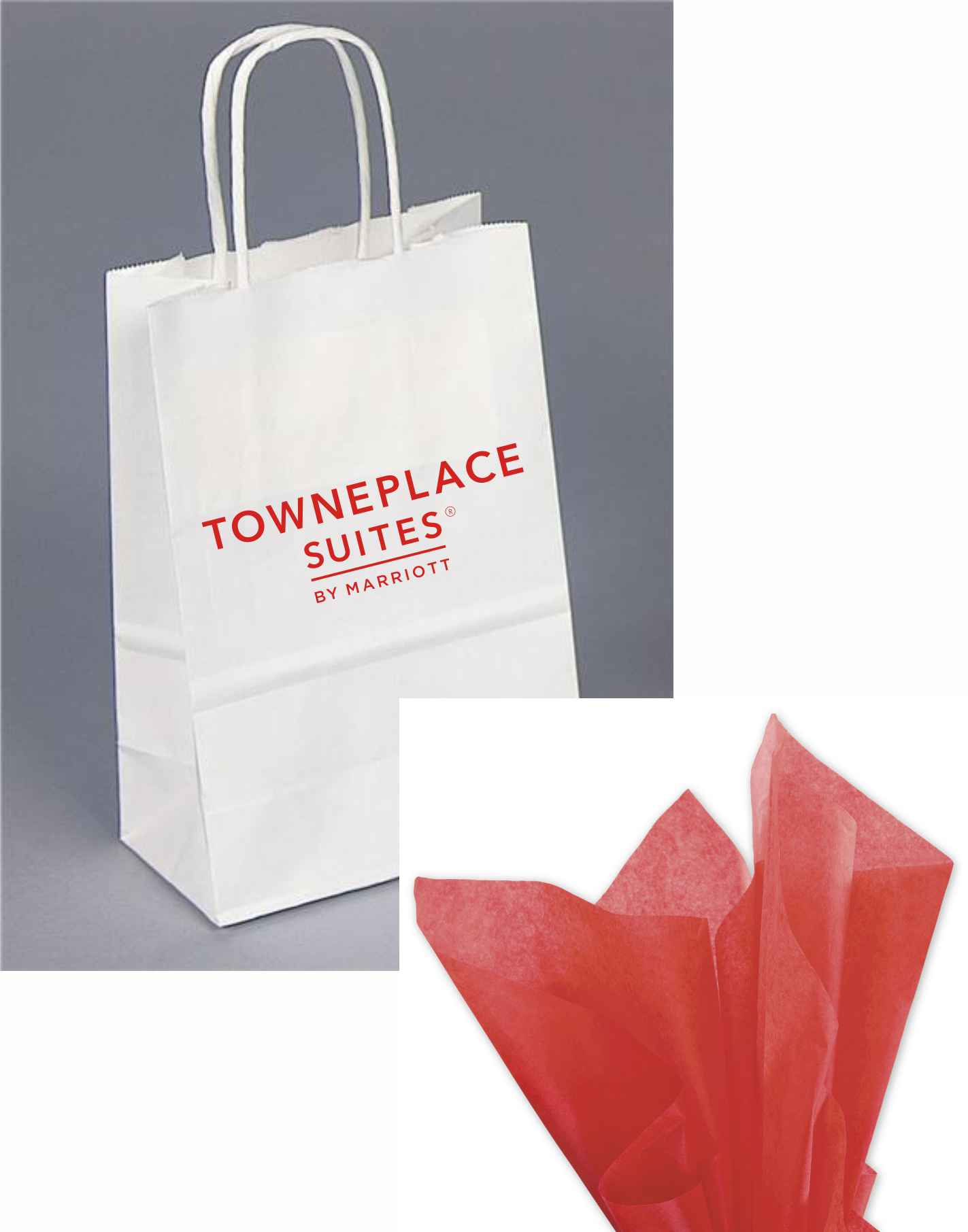 """Gift Bags with Rope Handle - Reflective foil-stamped TownePlace Suites logo - Includes RED tissue paper with every gift bag! - 8.25""""H x 5.00""""W x 3.50"""""""