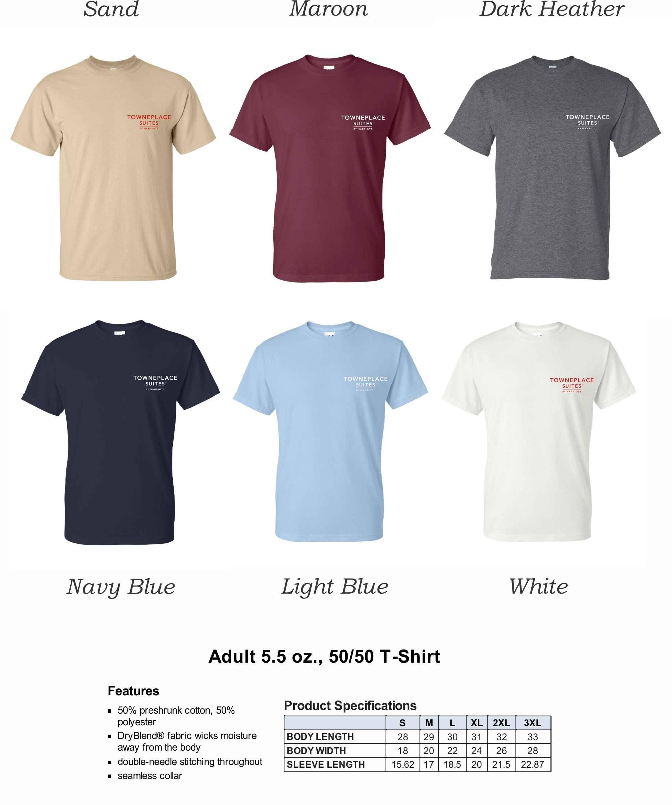 T-Shirts.   Heavyweight, 50/50 DryBlend Fabric   Silk-Screen Logo