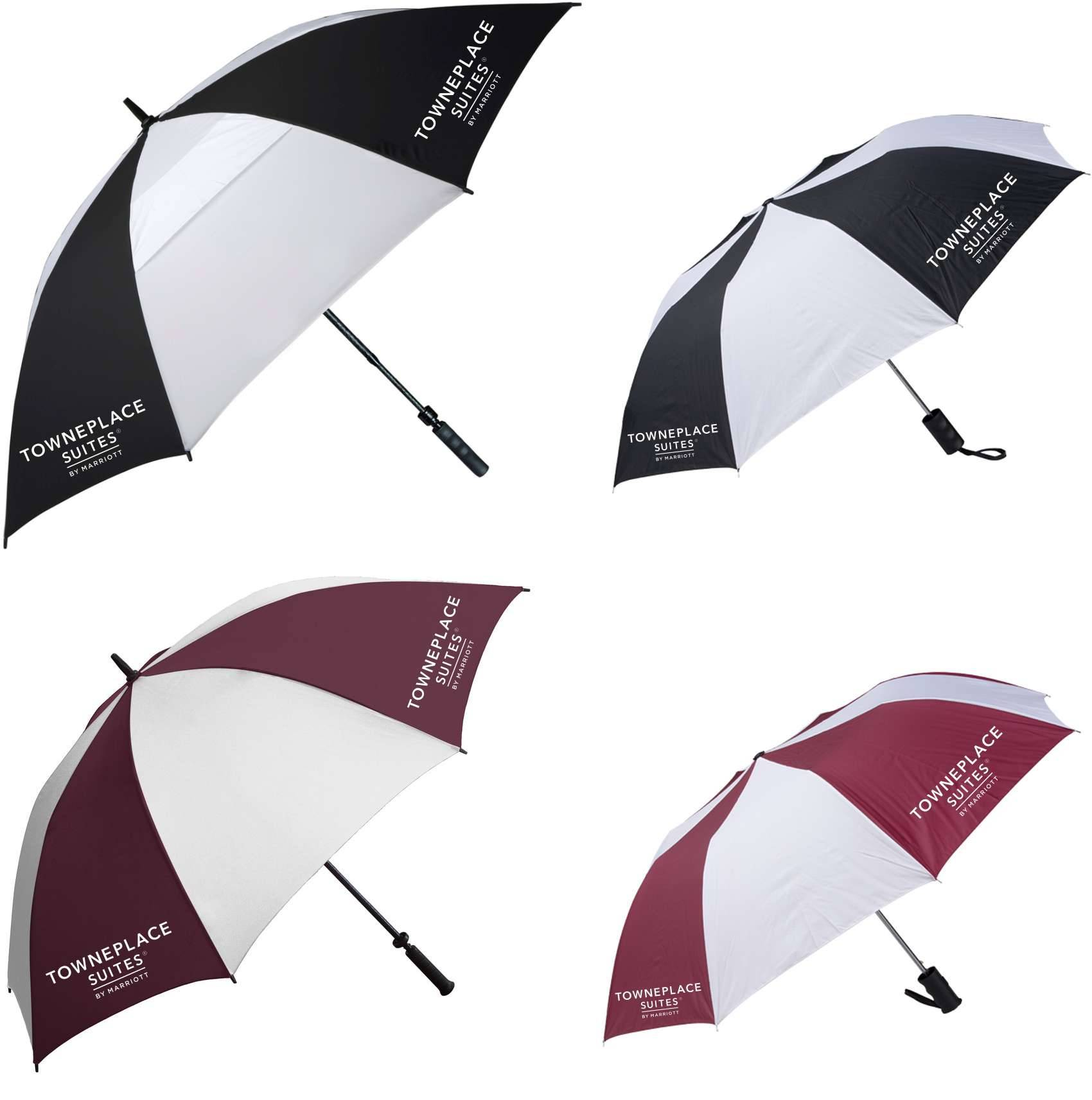 "62"" Golf/Gatehouse Umbrellas + 42"" Auto-Open Umbrellas. 2 LOGOS on each umbrella!"