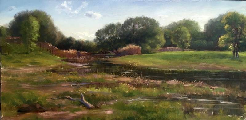 "Terrebonne Landscape III (2016, oil on canvas, 12x24"")"