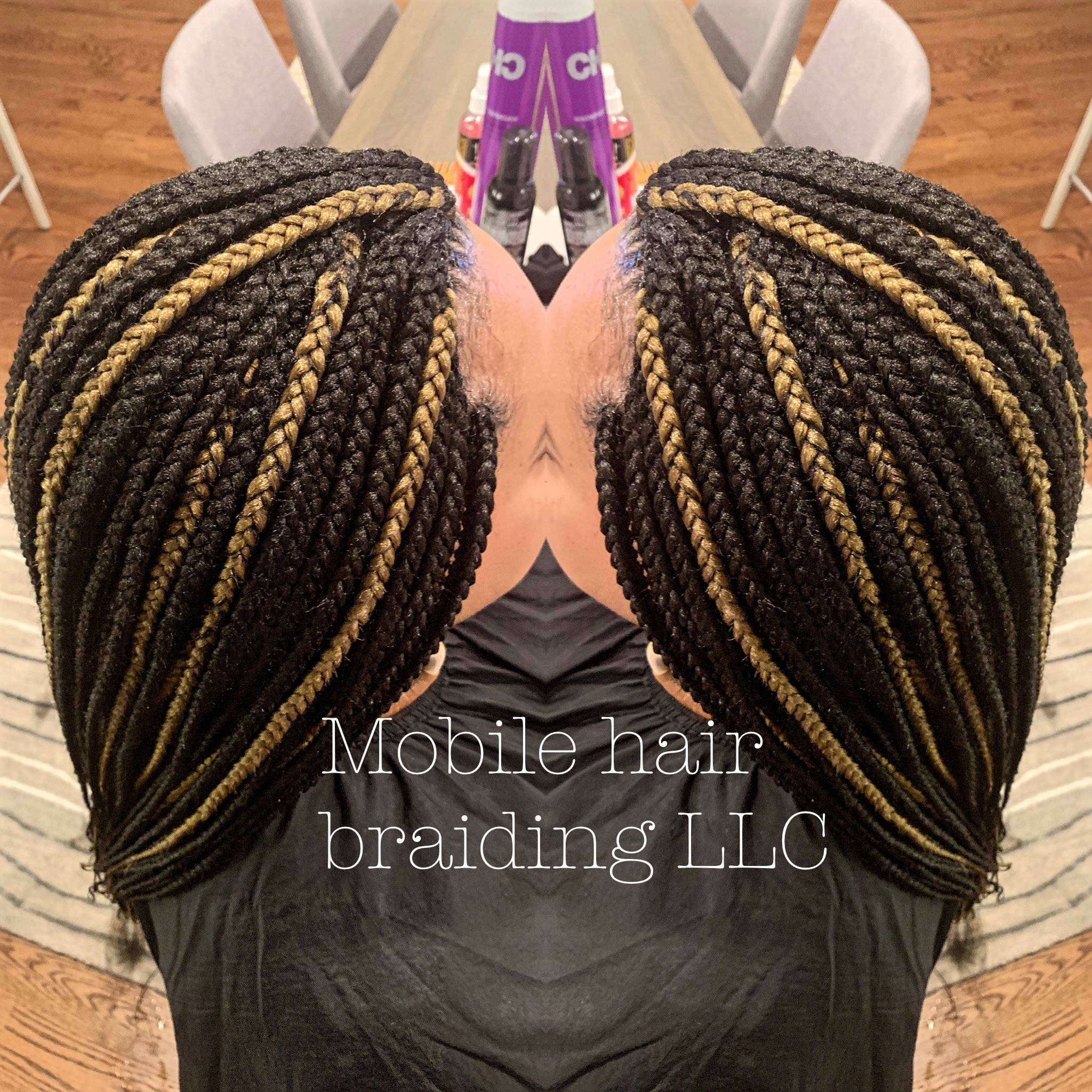 Box Braids with golden blonde highlights completed in Silverspring, MD