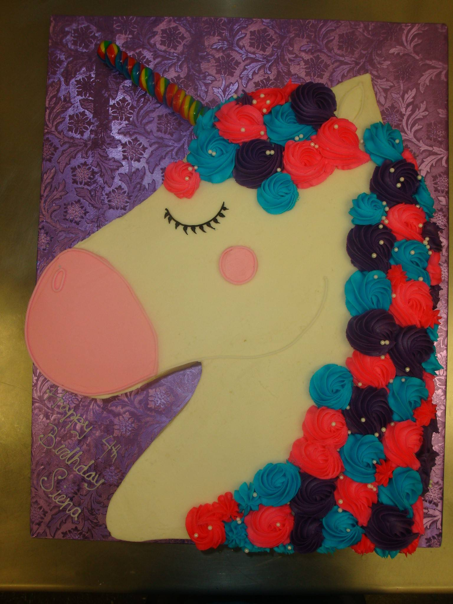 50 serving unicorn with candy horn $150