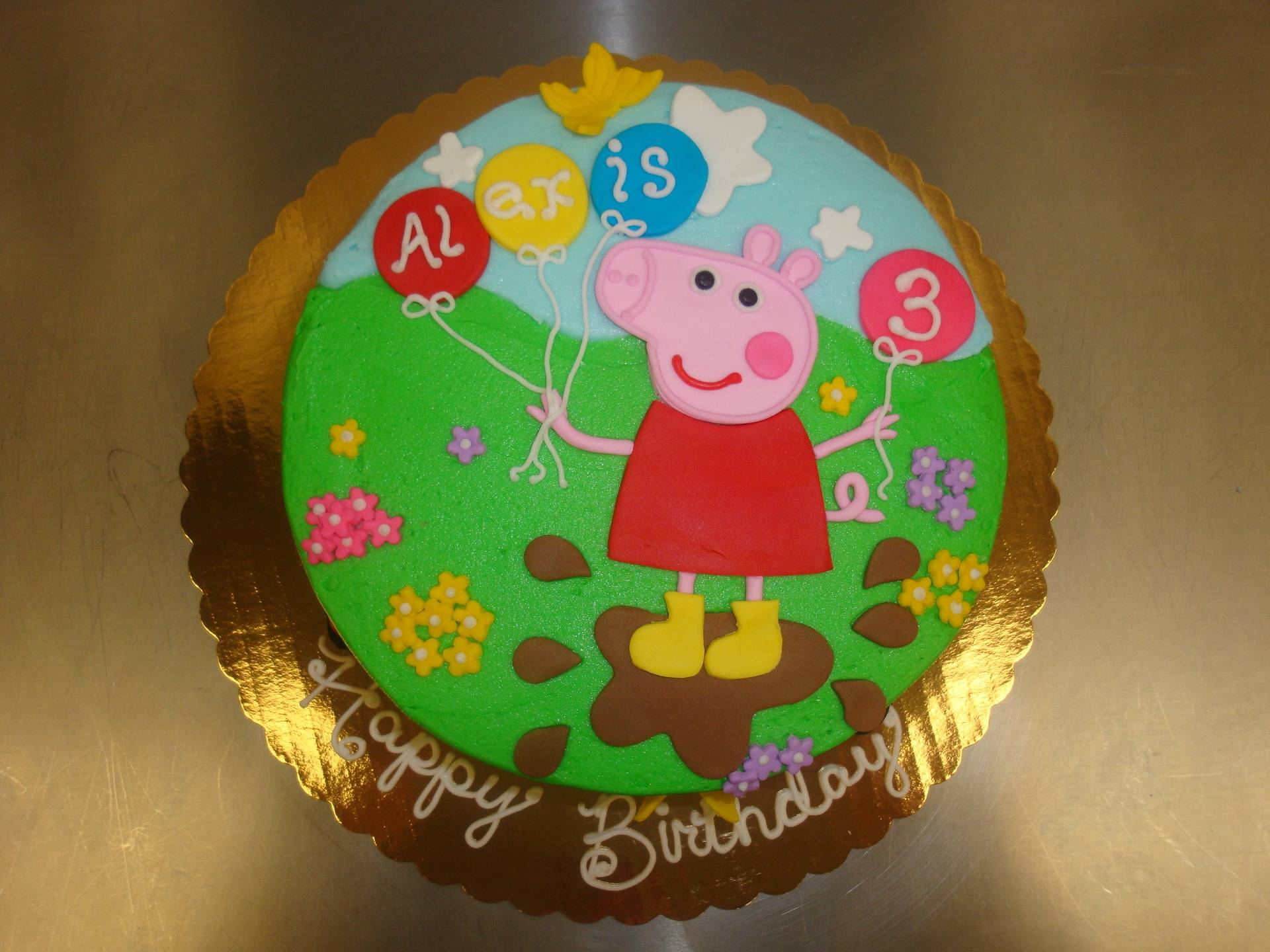 Peppa Pig with balloons in mud 15 servings $90
