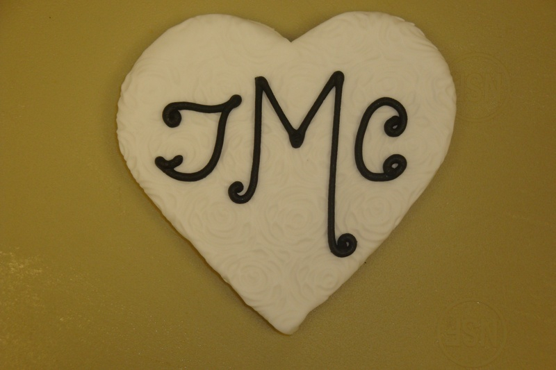 Fondant covered jumbo monogram heart $5 each