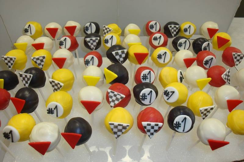 racing theme cake pops $3.50 each