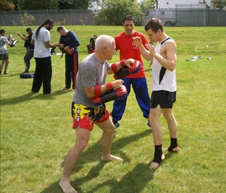 Michael n Dad on pads