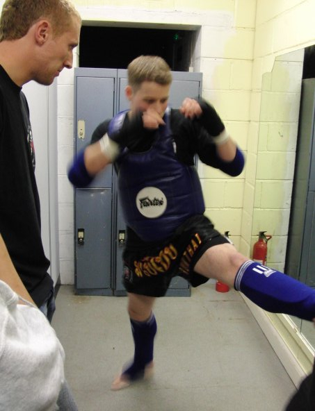 Rob stretching before fight