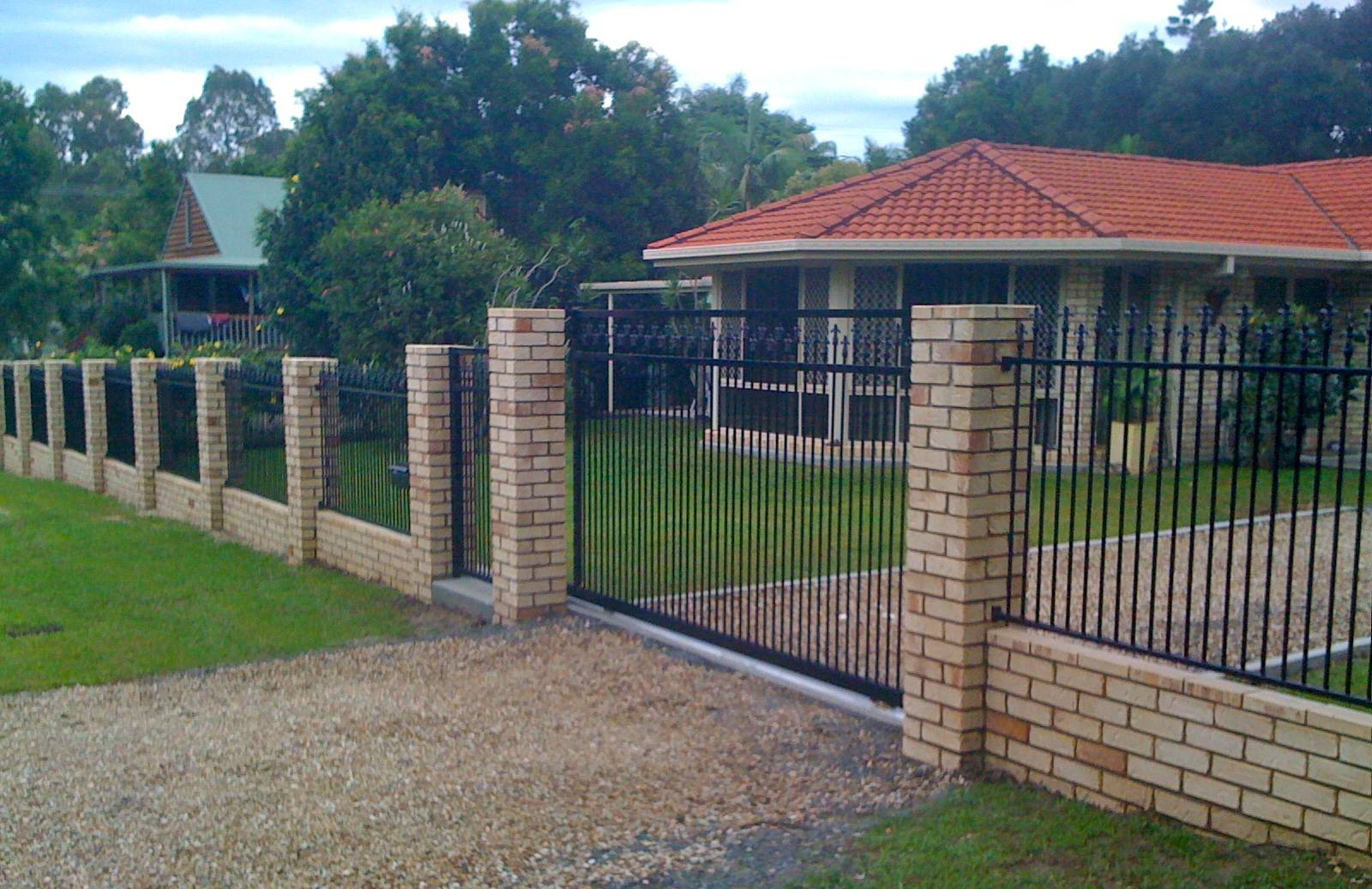 Front brick fence with infill panels and slider
