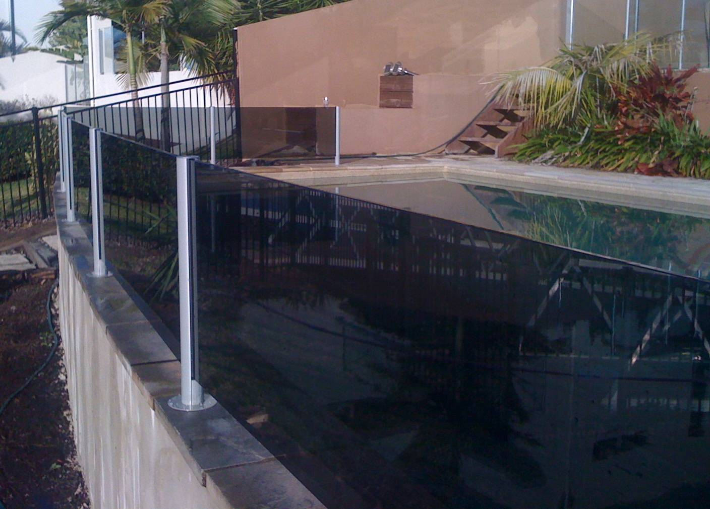 Tinted glass semiframeless glass pool fencing