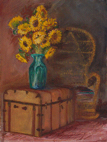 Blue Vase Sunflowers