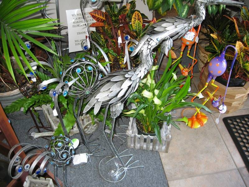 Pewter Crane and Filigree Peacock Garden Statues