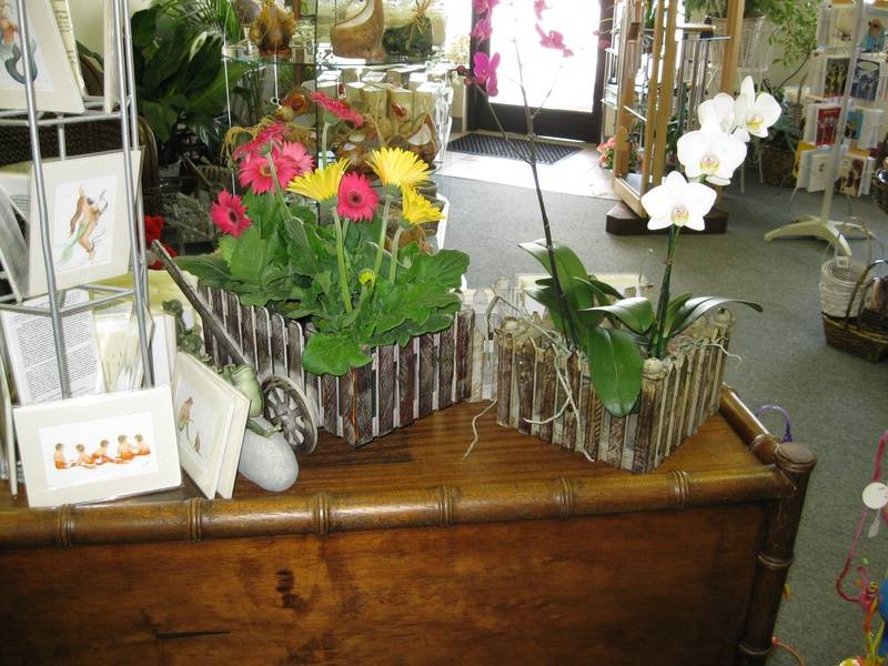Wooden Planters- Flower Cart, Crate, and Birdhouse