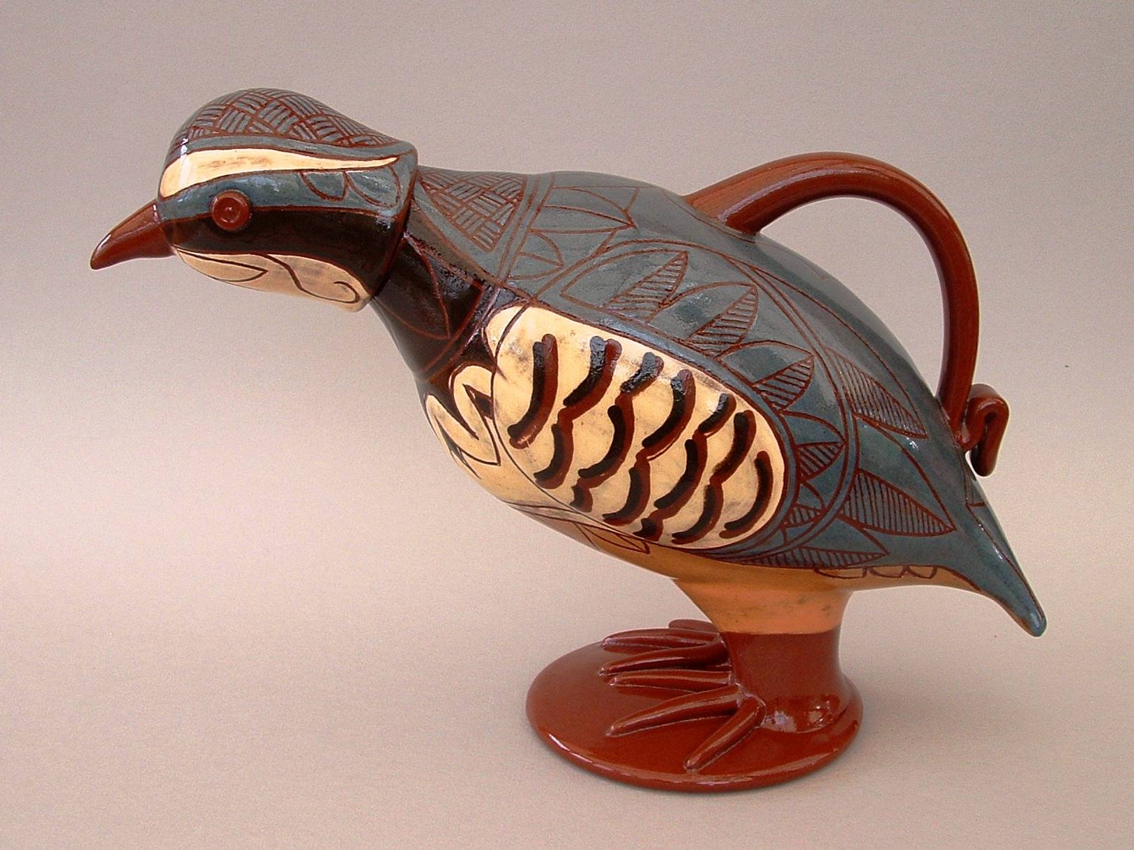 "Lidded Partridge Jug 8"" tall"