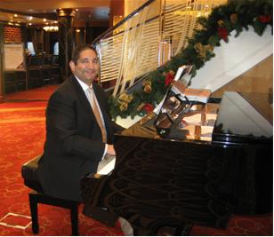 Queen Mary 2 Grand Lobby - 2006 - entertaining fellow passengers each day 5pm-7pm while cruising the Caribbean
