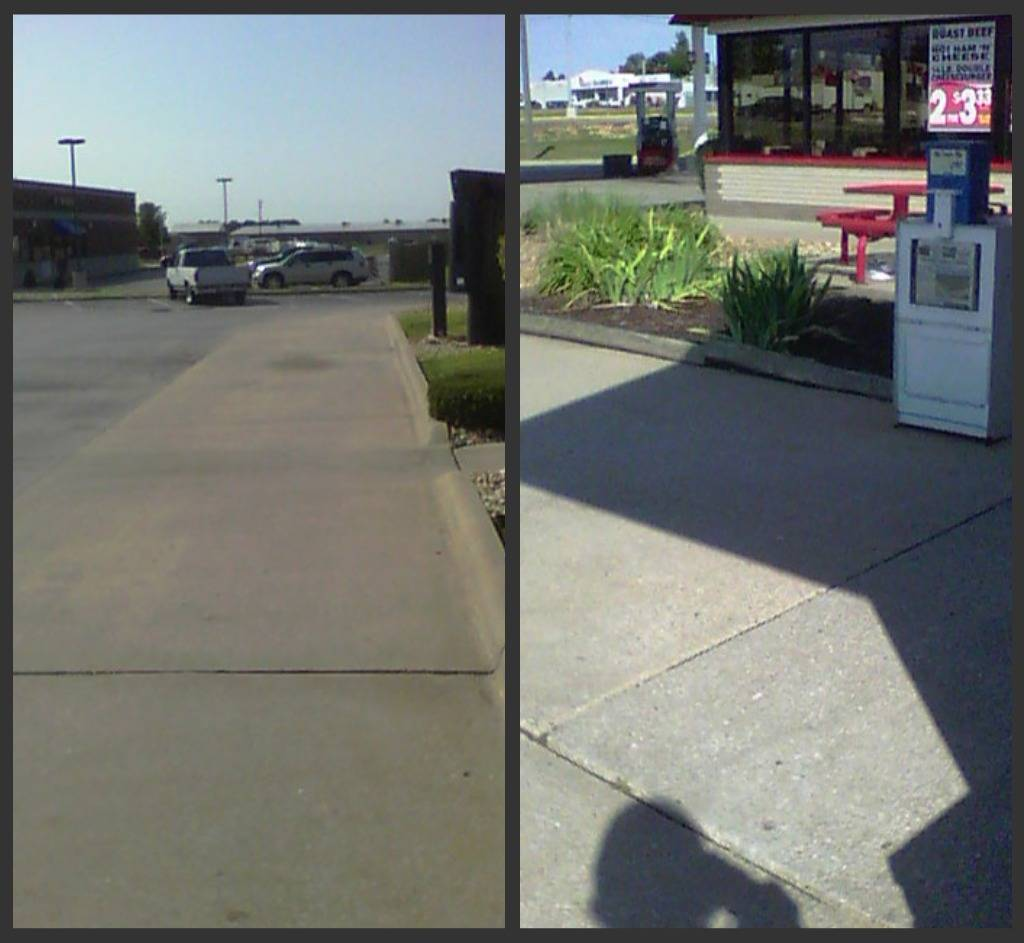 Gum removal sidewalk cleaning  Cleaned by Pete