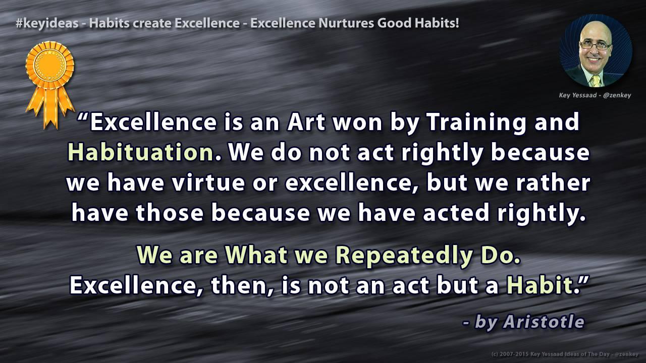 Habits create Excellence - Excellence Nurtures Good Habits
