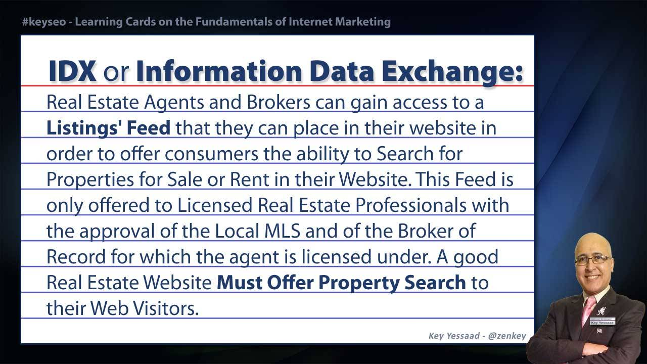 IDX or Information Data Exchange - Real Estate SEO Short Definition