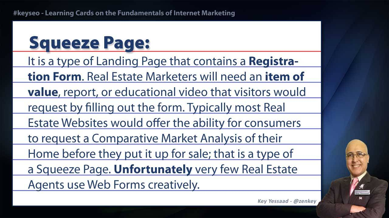 Squeeze Page - Real Estate SEO Short Definition