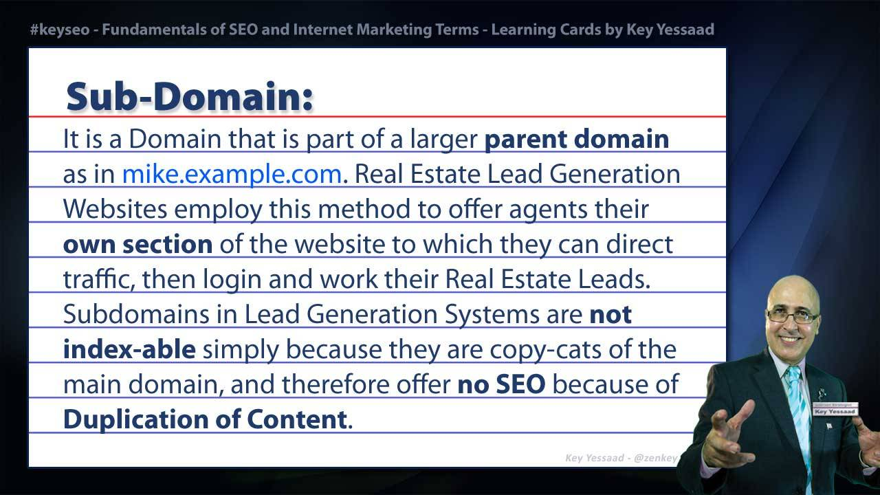 Sub-Domain - Real Estate SEO Short Definition
