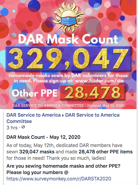 May 12th Mask Count - 329,047 Masks Made