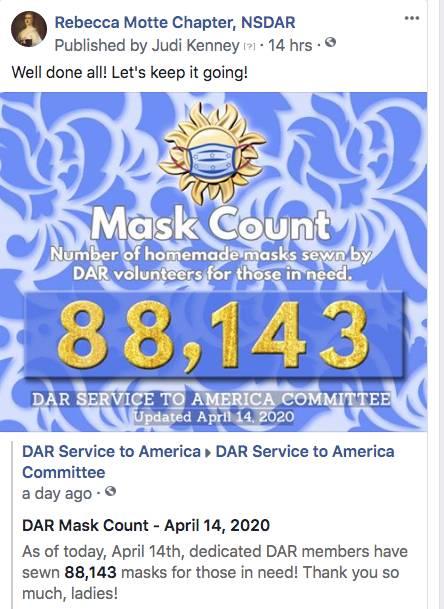 April 14th, 2020 - 88,143 Masks Made