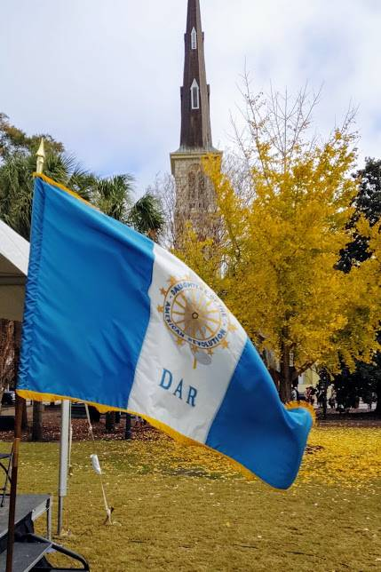 DAR Flag With Baptist Church In Background At Marion Square