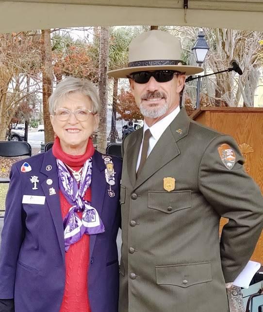 Rebecca Motte Chapter Regent MaeRe Skinner With Superintendent John Slaughter