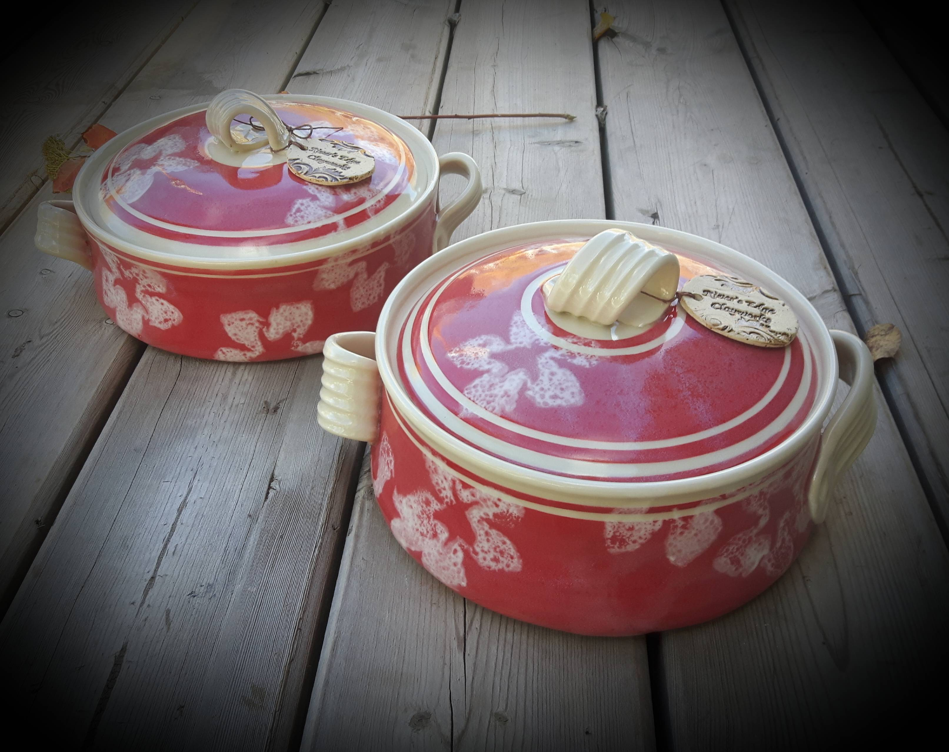 Red & White Lidded Casseroles