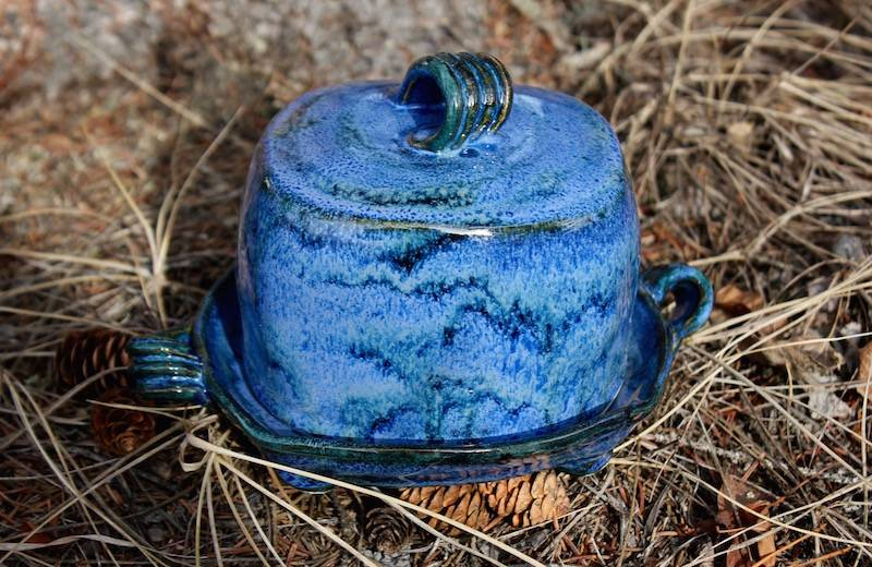 """Butter Dish for 1/2 Block of Butter ~ """"Blues"""""""