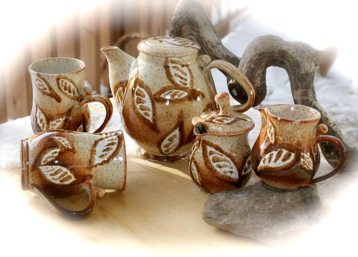 Speckled Leaves Teapot Set