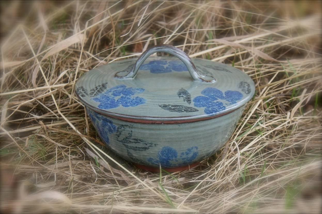 Flower Stamped Lidded Bowl