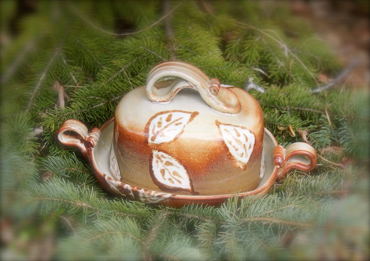 """""""Falling Leaves"""" Butter Dish"""