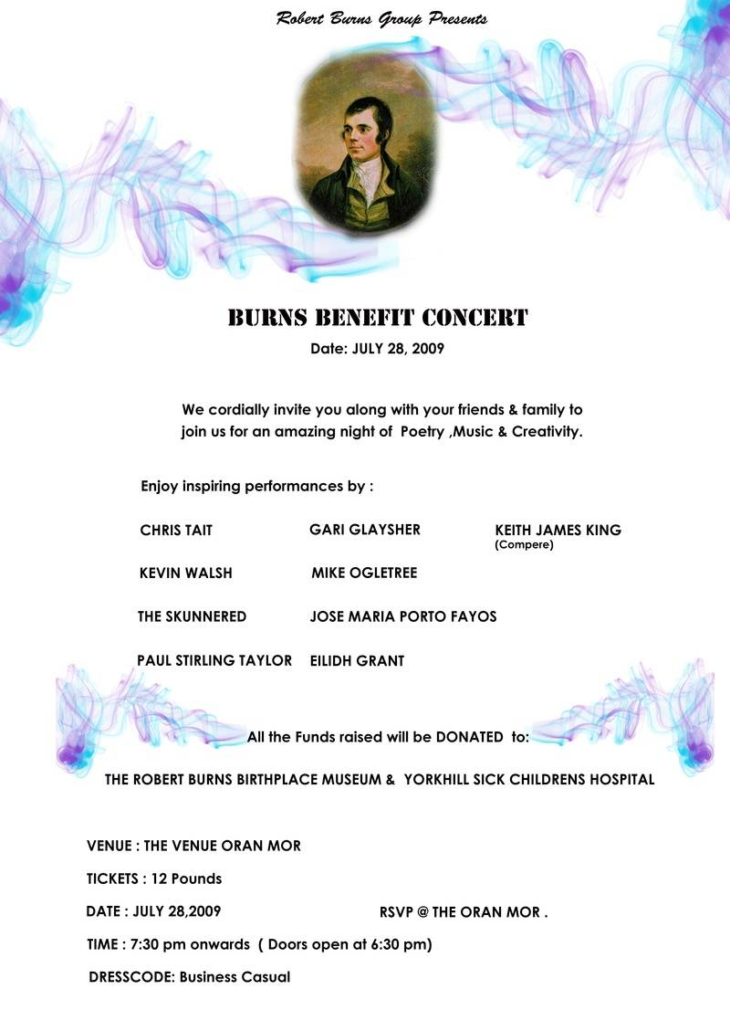 Burns Benefit Concert Posted Designed By Purva Deshpande