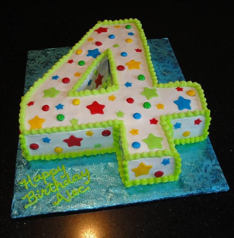 3D Number 4 Birthday Cake