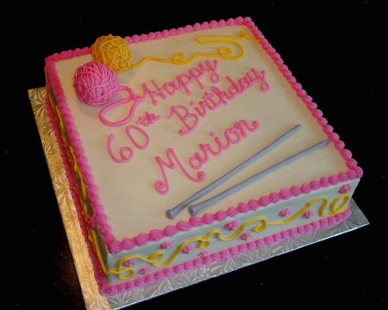 60th Birthday Celebration Knitting Theme Cake