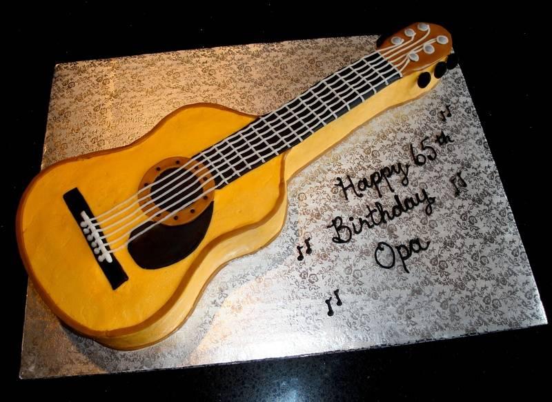65th Birthday 3D Guitar Cake