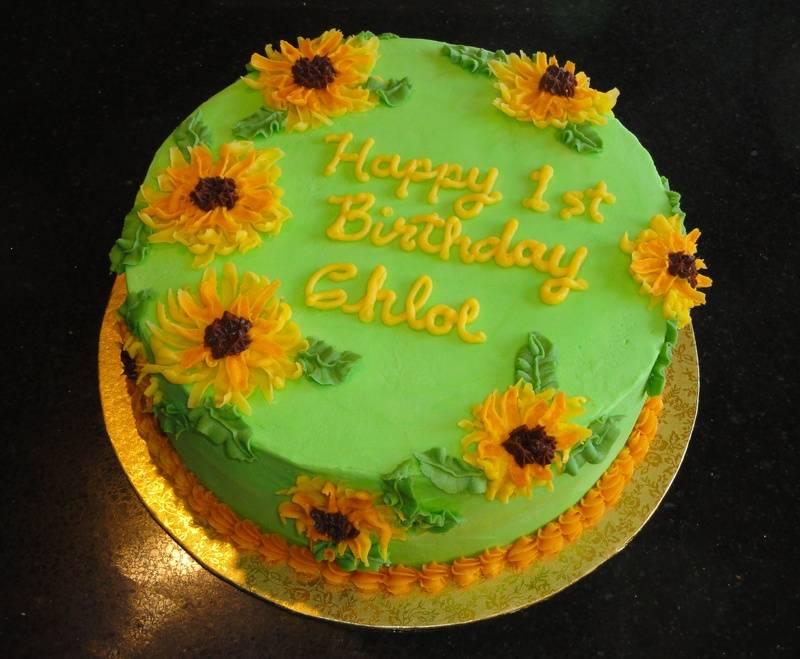 Sunflower 1st Birthday Cake