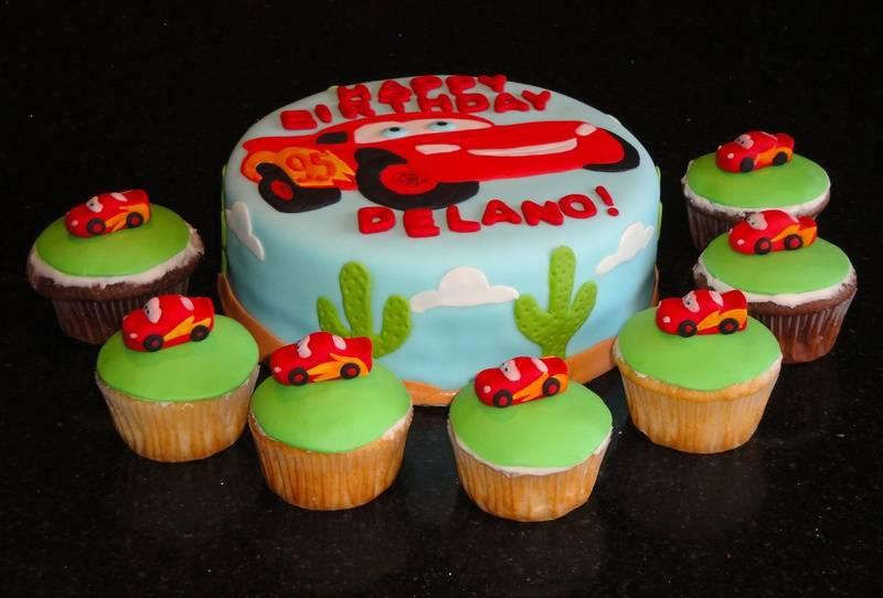 Cars Theme Cake & Cupcakes for Delano