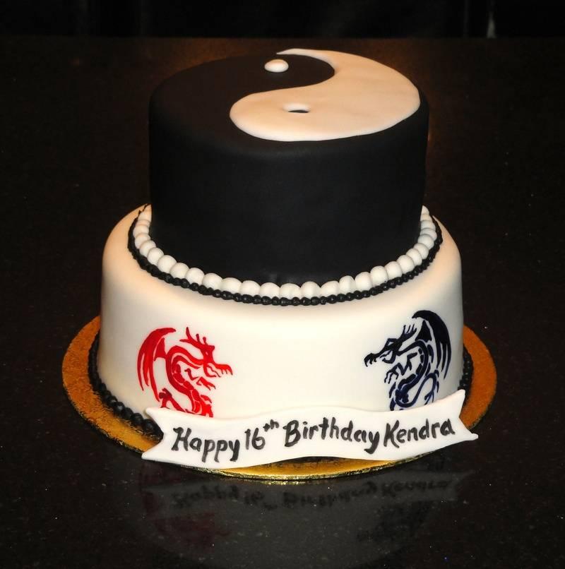 Yin Yang Dragon Theme Birthday Cake