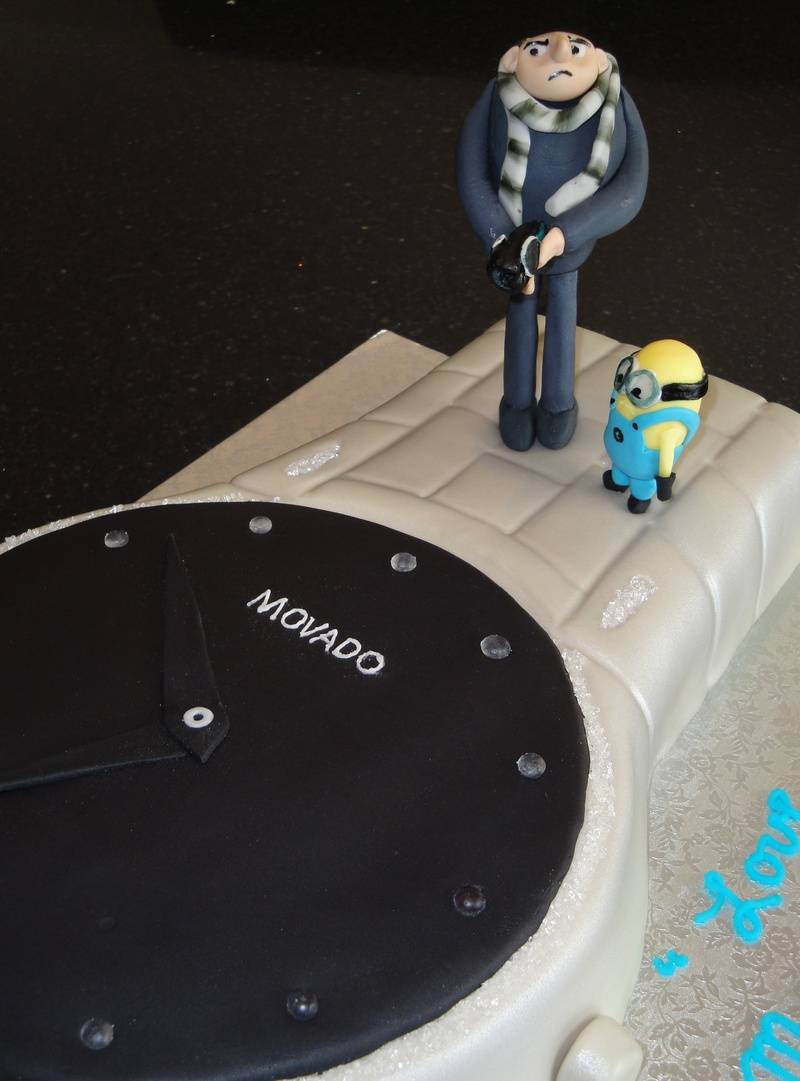 Movado Watch Cake with Despicable Me Characters