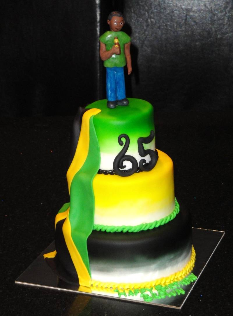 Jamaican Theme 65th Birthday cake