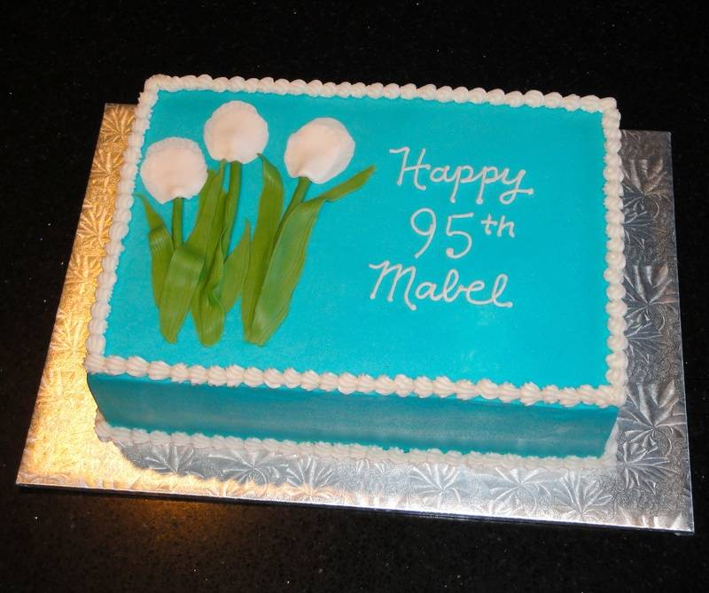 95th Birthday White Tulips Cake