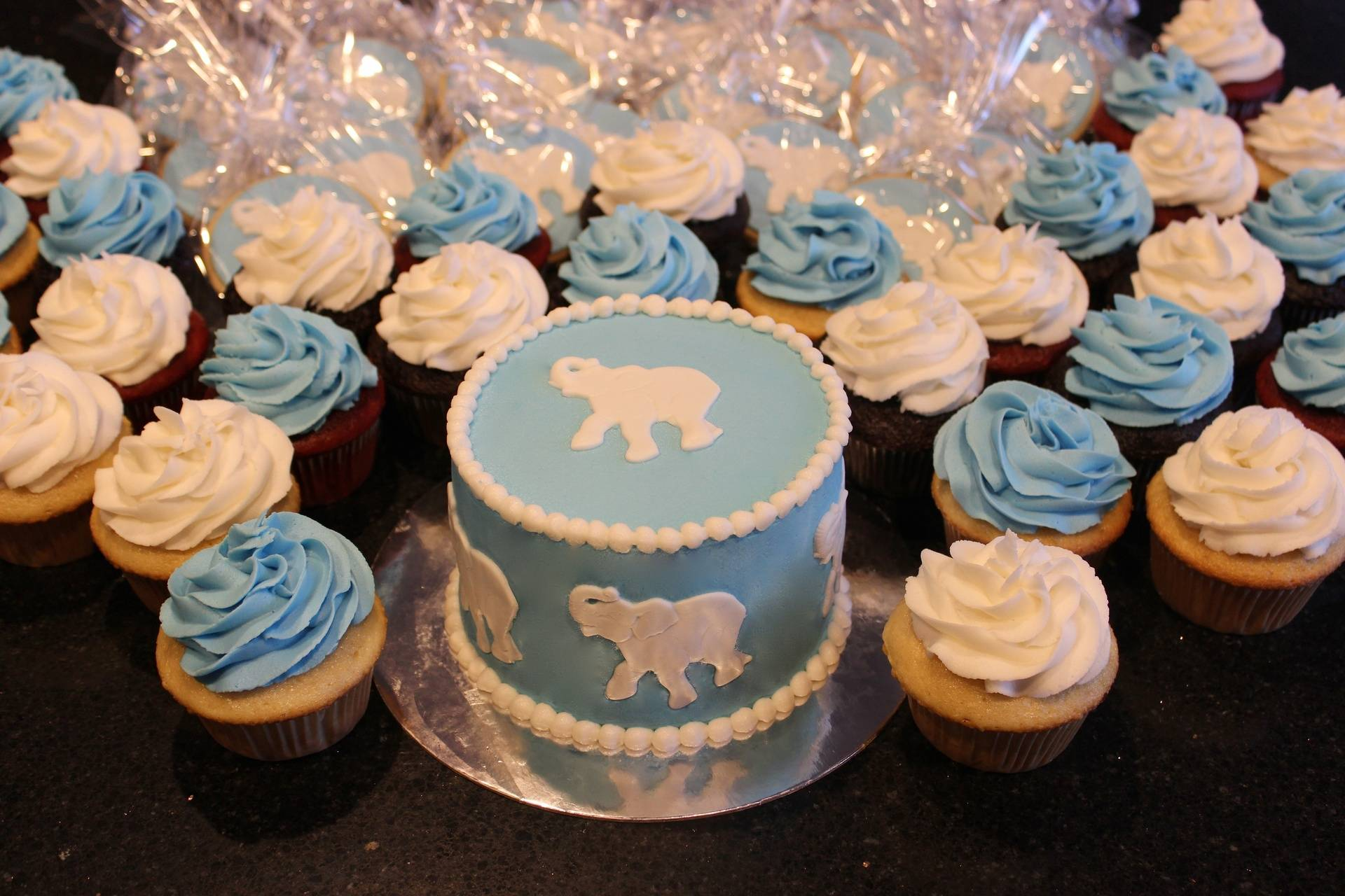 Elephant Theme 1st Birthday Cake, Cupcakes and Cookies
