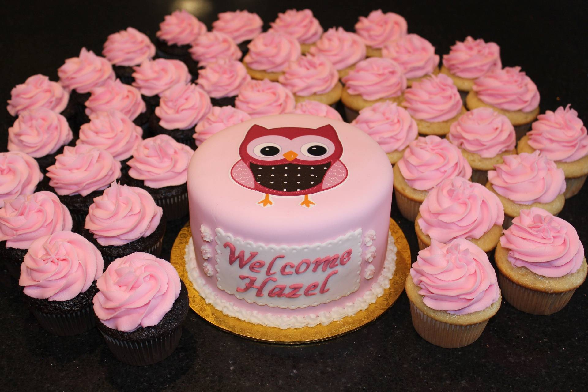 Owl Themed Baby Shower Cake and Cupcakes