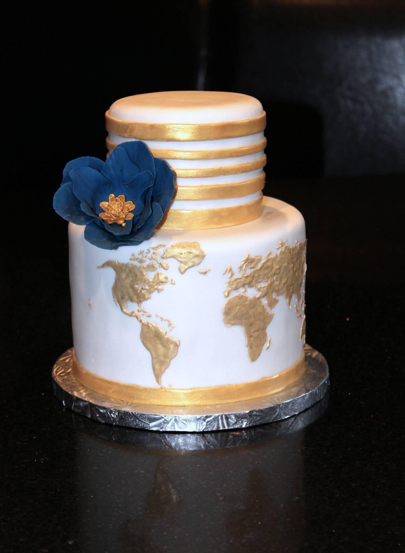 Bridal Shower Travel the World Cake