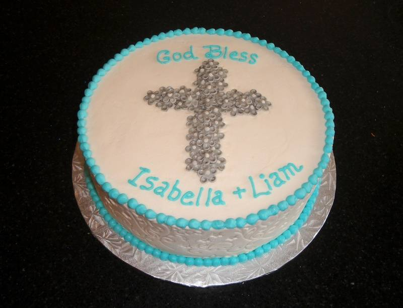 Silver and Blue Baptism Cake