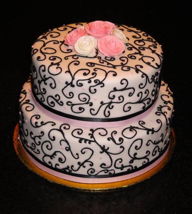 Black & Pink Anniversary cake